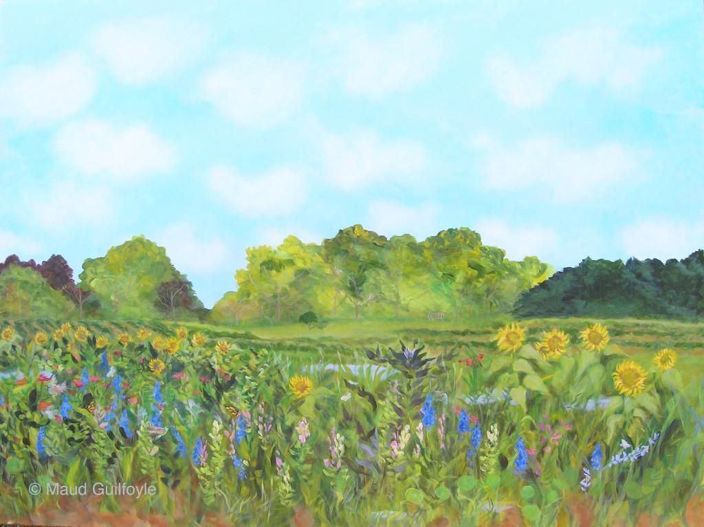 "Meadow VIII, Sunflowers at Old Hook Farm, acrylic on canvas, 36 x 48"""