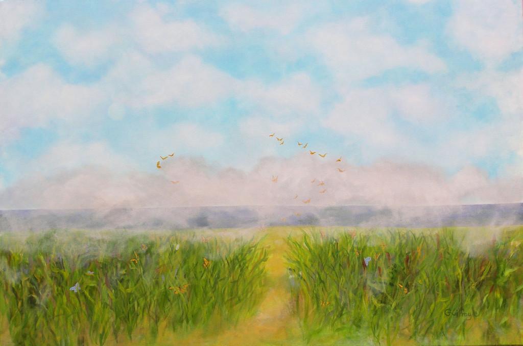 "Meadow VII, Sea Meadow, acrylic on canvas, 24 x 36"""