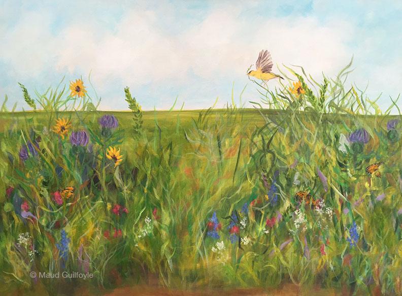 "Meadow X, Goldfinch, 24 x 30"", acrylic on canvas"